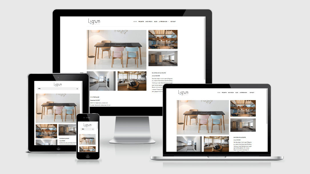 """Die Webseite von """"Lignum arts"""" dargestellt auf 4 verschiedenen Bildschirmgrößen (Handy, Tablet, Laptop und Desktopmonitor)"""