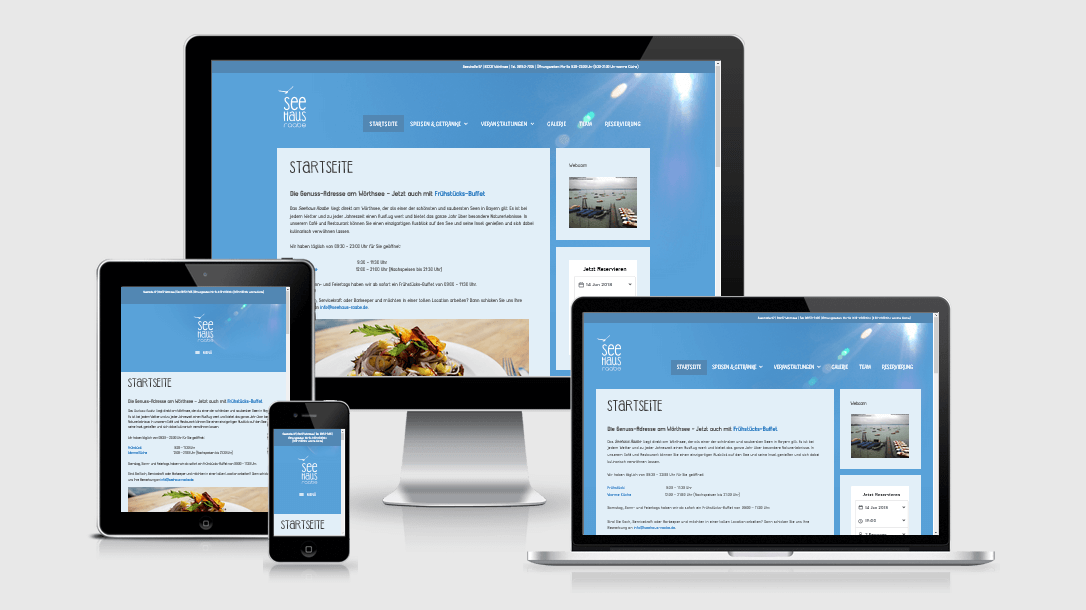 """Die Webseite des """"Seehaus Raabe"""" dargestellt auf 4 verschiedenen Bildschirmgrößen (Handy, Tablet, Laptop und Desktopmonitor)"""