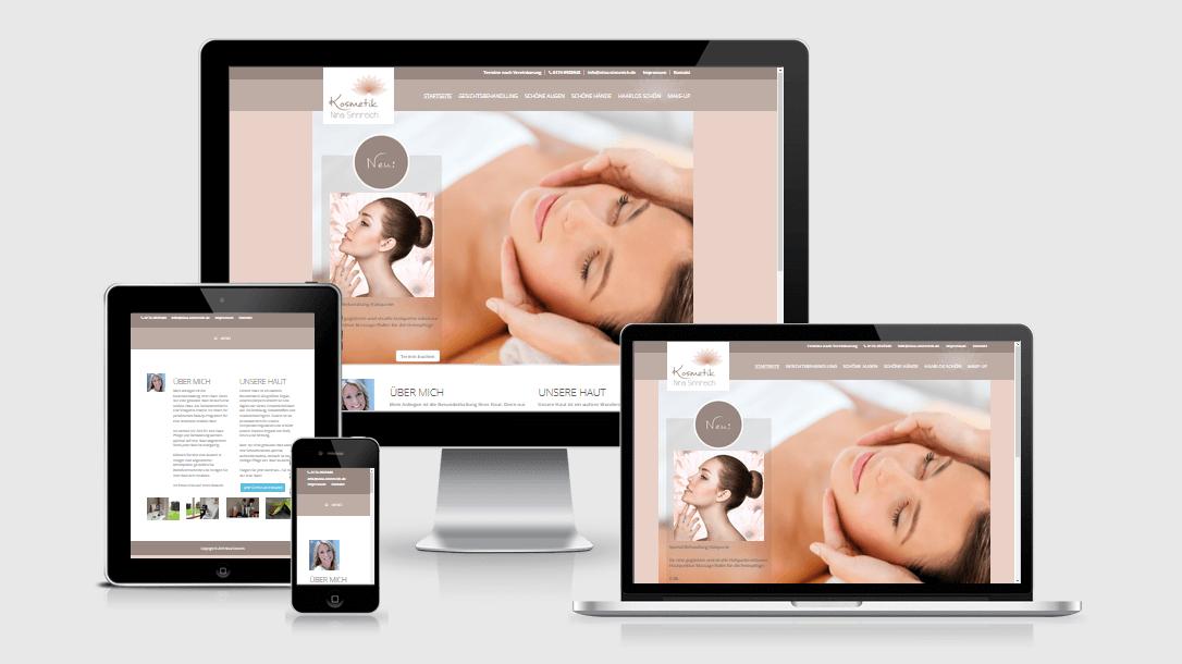 """Die Webseite von """"Nina Sinnreich Kosmetik"""" dargestellt auf 4 verschiedenen Bildschirmgrößen (Handy, Tablet, Laptop und Desktopmonitor)"""