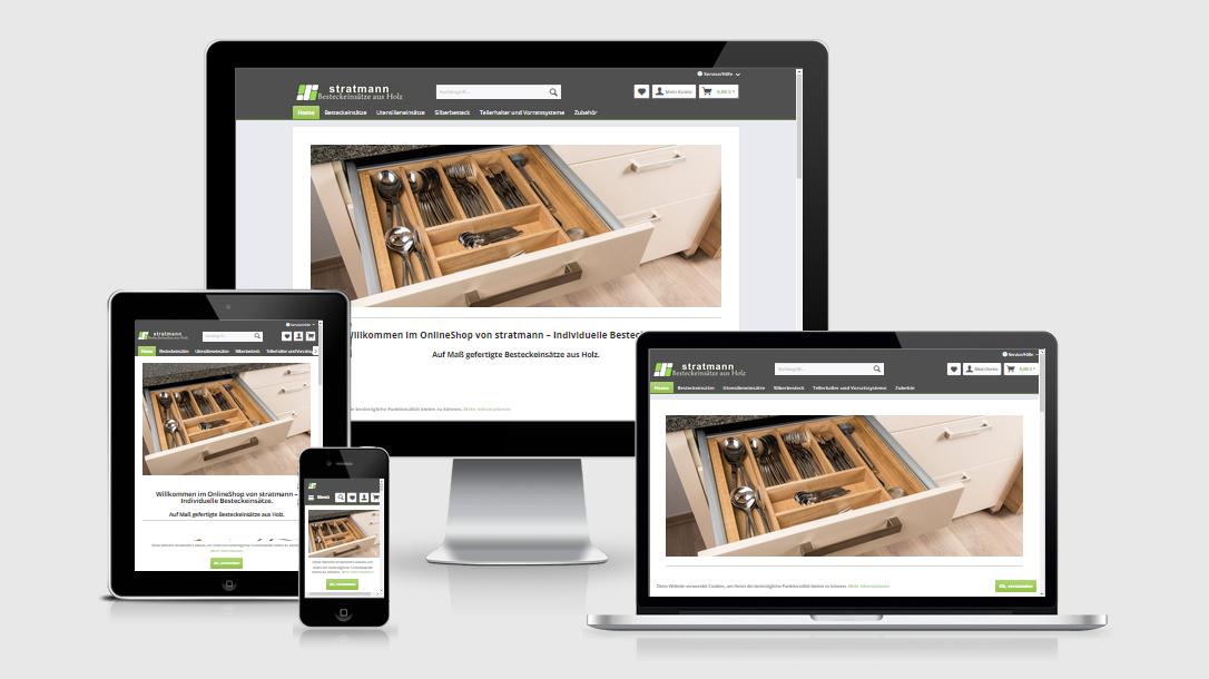 """Die Webseite des """"Stratmann Shops"""" dargestellt auf 4 verschiedenen Bildschirmgrößen (Handy, Tablet, Laptop und Desktopmonitor)"""