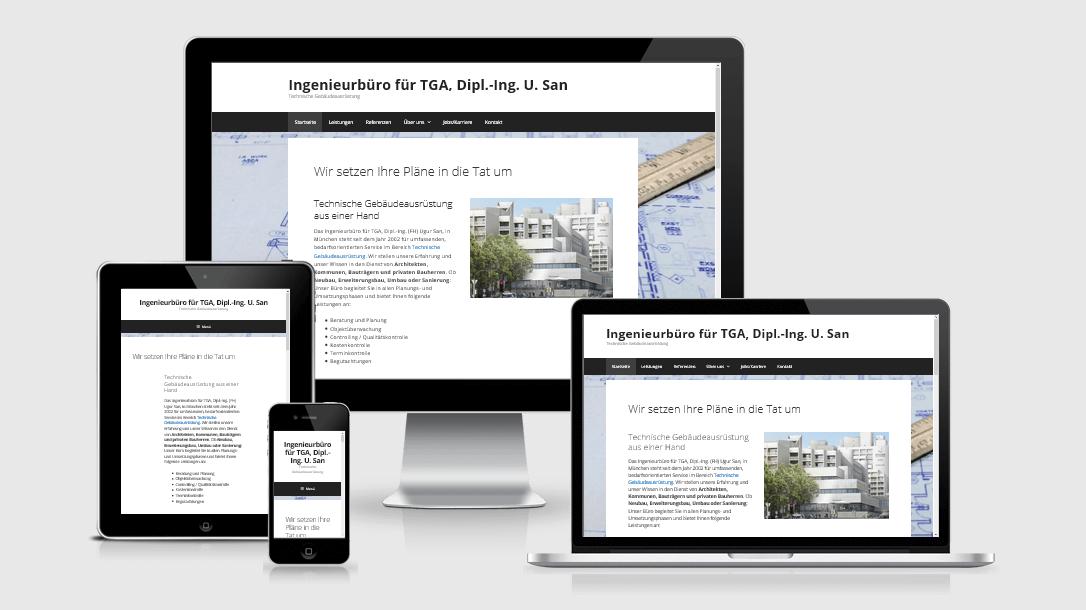 """Die Webseite des """"Ingenieurbüros San"""" dargestellt auf 4 verschiedenen Bildschirmgrößen (Handy, Tablet, Laptop und Desktopmonitor)"""