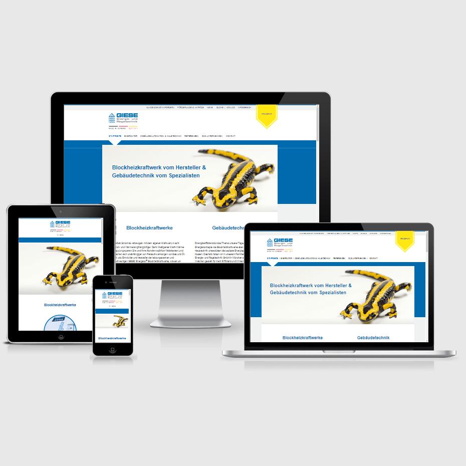 """Die Webseite der """"Giese GmbH"""" dargestellt auf 4 verschiedenen Bildschirmgrößen (Handy, Tablet, Laptop und Desktopmonitor)"""