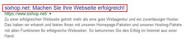 screenshot des webseitentitels in der Googlesuche