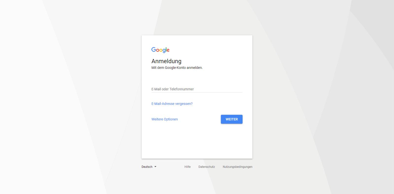 Ein screenshot der Google Anmeldeoberfläche