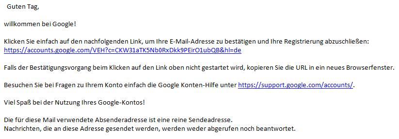 Ein screenshot der Email, die man von Google zur Bestätigung der Anmeldung bekommt