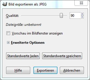 Bild exportieren als JPEG