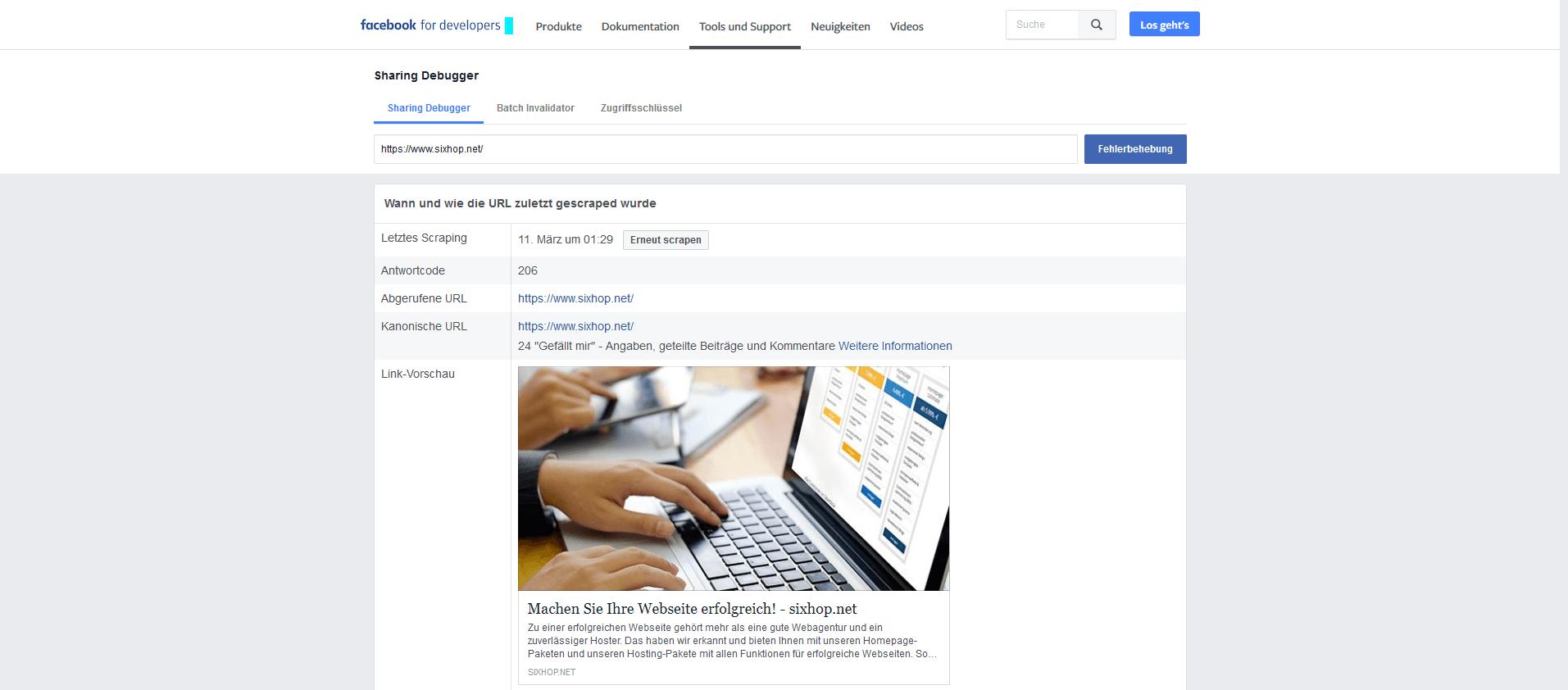 Facebook Developer Link Vorschau
