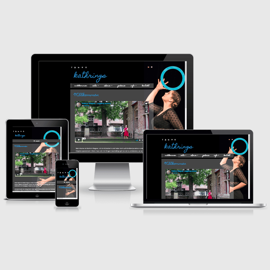 """Die Webseite von """"Kathrings"""" dargestellt auf 4 verschiedenen Bildschirmgrößen (Handy, Tablet, Laptop und Desktopmonitor)"""