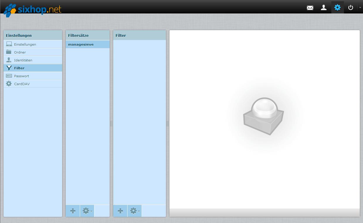 Ein screenshot der Einstellungen im sixhop.net Webmailer
