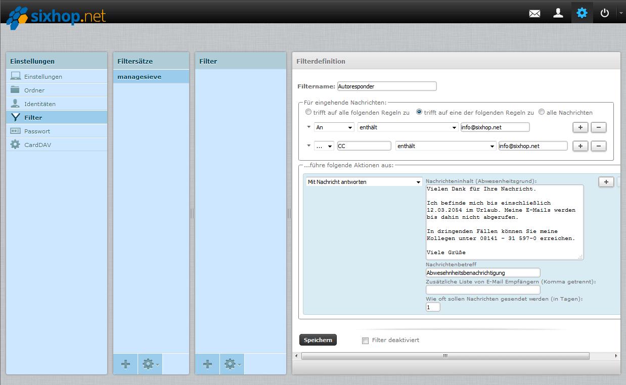 Ein screenshot des Filters des sixhop.net Webmailers