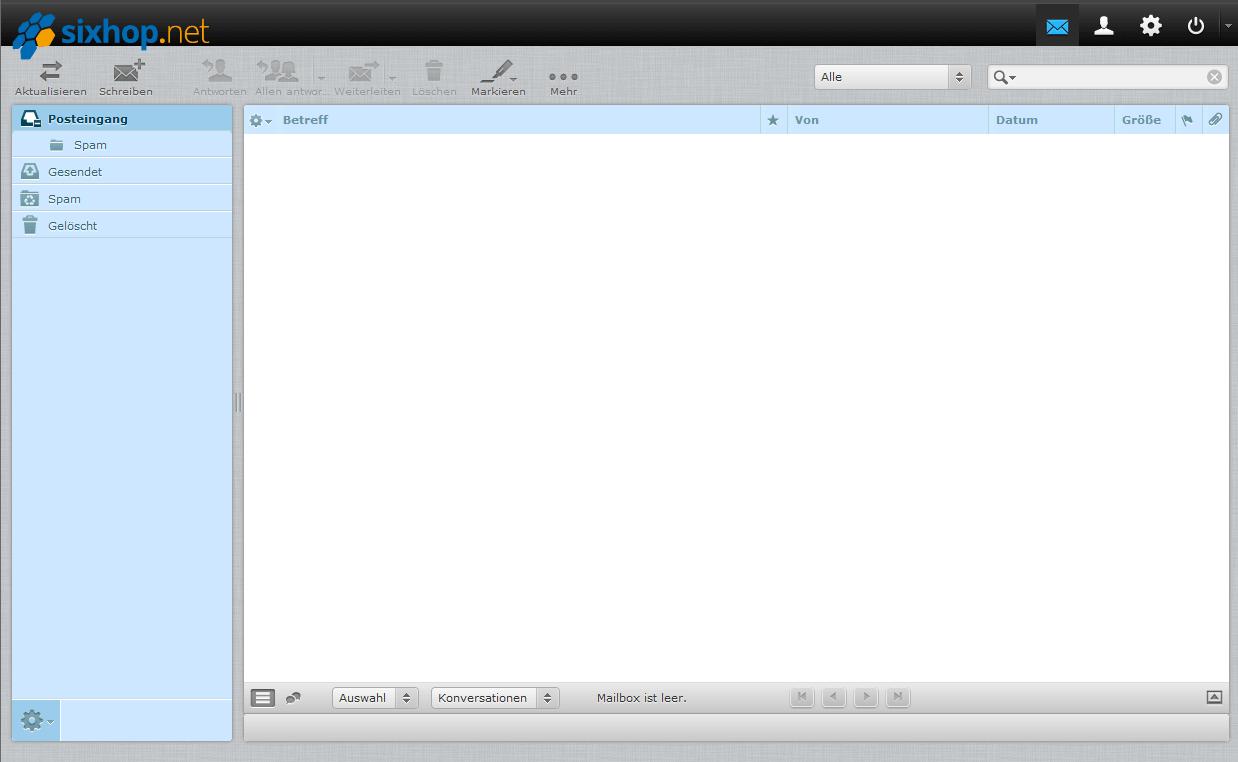 Ein screenshot des Posteingangs des sixhop.net Webmailers