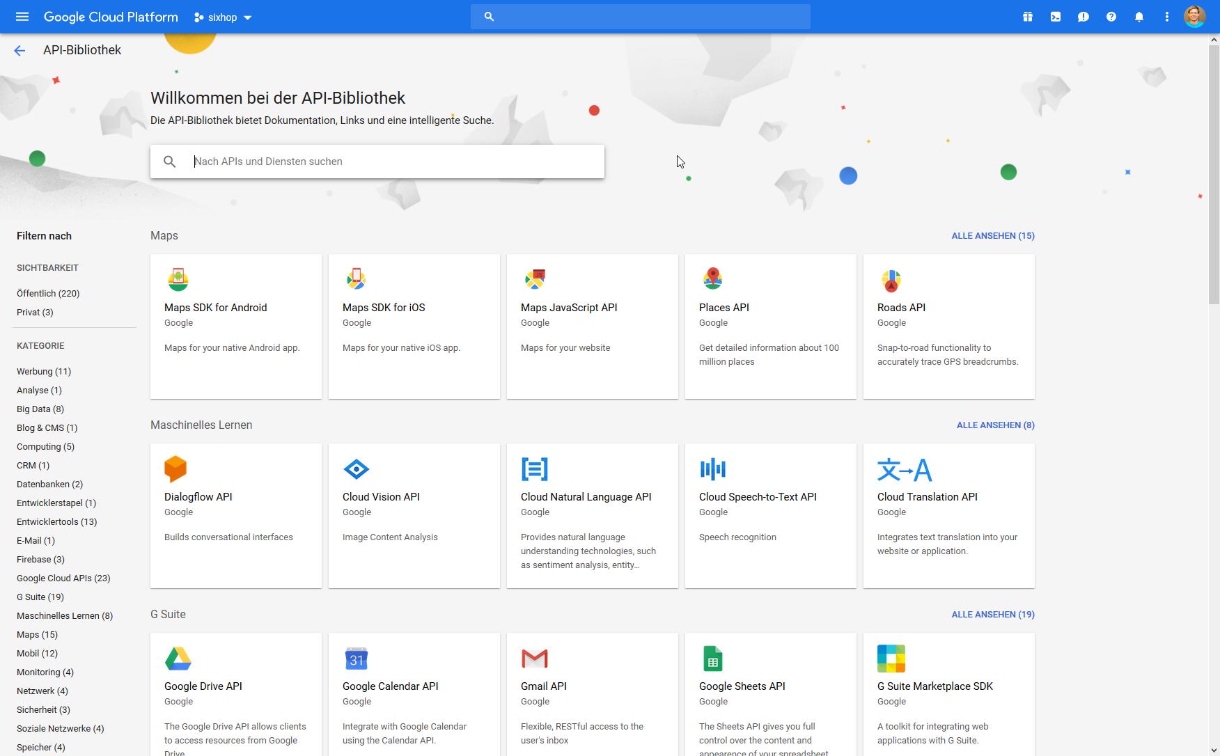 Maps JavaScript API auswählen